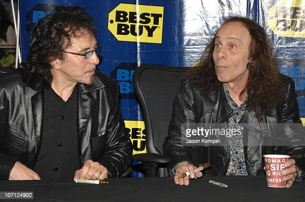 Tony Iommi and Ronnie James Dio during Black Sabbath InStore Appearance For 'Heaven and Hell The Dio Years' April 3 2007 at Best Buy 5th Avenue in...