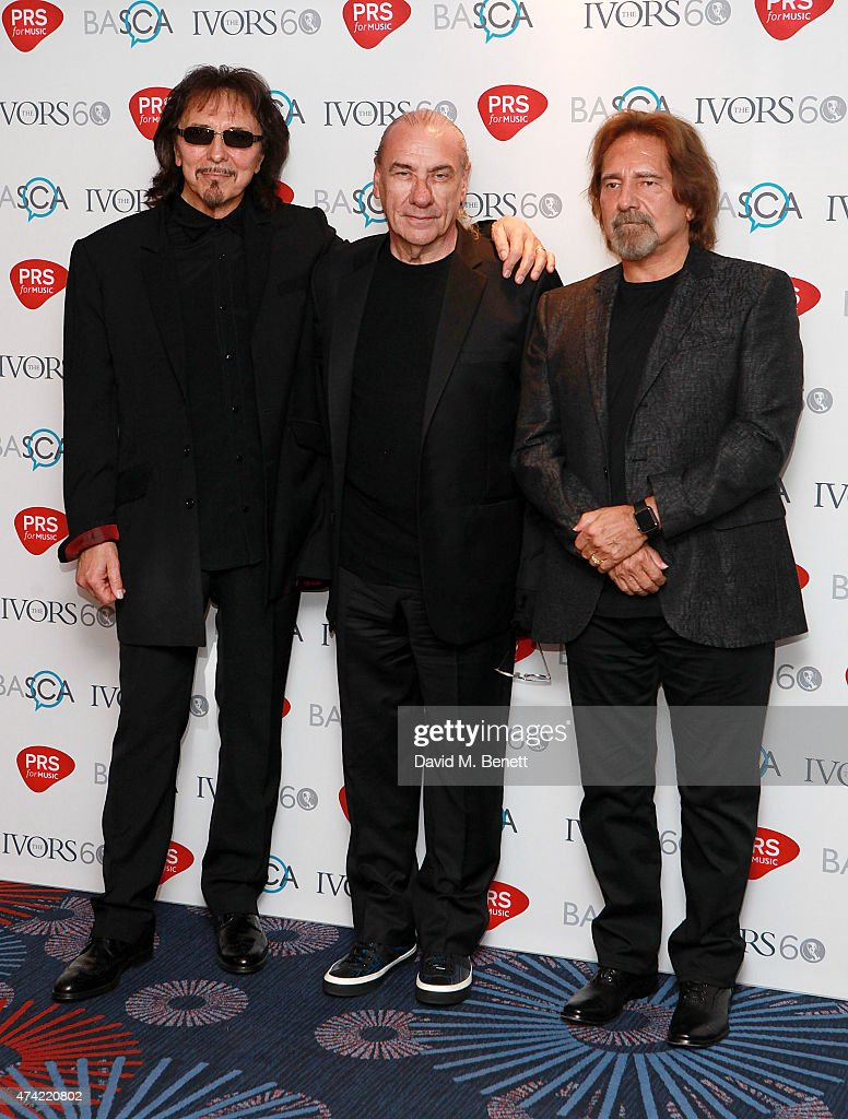 Tony Iommi, Bill Ward and Geezer Butler attend the 2015 Ivor Novello Awards at The Grosvenor House Hotel on May 21, 2015 in London, England.