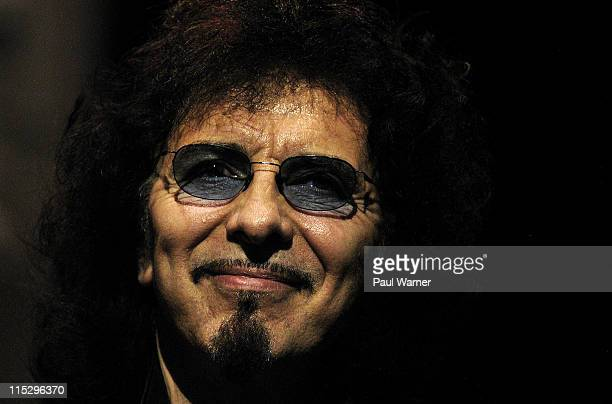 Tony Iommi guitarist of Heaven and Hell performs with the band during the 2008 Masters of Metal Tour at the First Midwest Bank Amphitheater on August...
