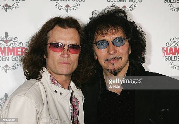 Tony Iommi of Black Sabbath and Glen Hughes of Deep Purple pose in the awards room at The Metal Hammer Golden Gods Awards at the The Astoria June 13...