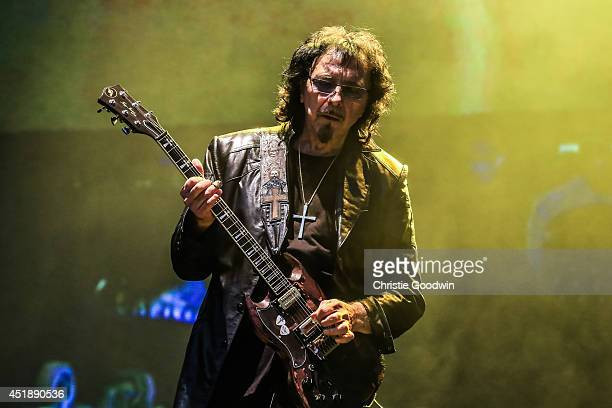 Tony Iommi of Black Sabbath performs on stage at British Summer Time Festival at Hyde Park on July 4 2014 in London United Kingdom