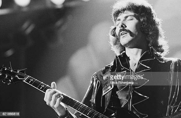 Tony Iommi of Black Sabbath performs on stage at Hammersmith Odeon London January 1976
