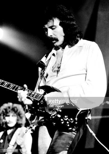 Tony Iommi of Black Sabbath performs on stage during the 'Never Say Die!' Tour at Lewisham Odeon, London on May 27, 1978.