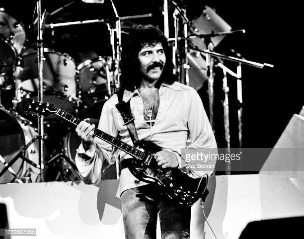 Tony Iommi of Black Sabbath performs on stage during the 'Never Say Die' Tour at Lewisham Odeon London on May 27 1978
