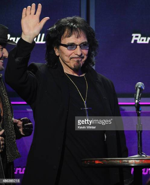 Tony Iommi of Black Sabbath speaks onstage at the 2014 Revolver Golden Gods Awards at Club Nokia on April 23 2014 in Los Angeles California