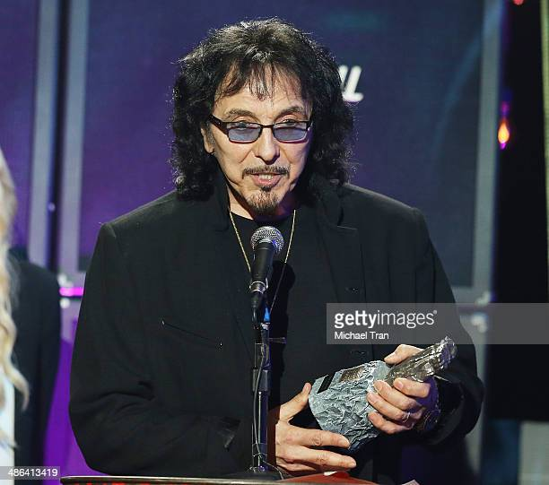 Tony Iommi of Black Sabbath speaks onstage during the 6th Annual Revolver Golden Gods Award Show held at Club Nokia on April 23 2014 in Los Angeles...