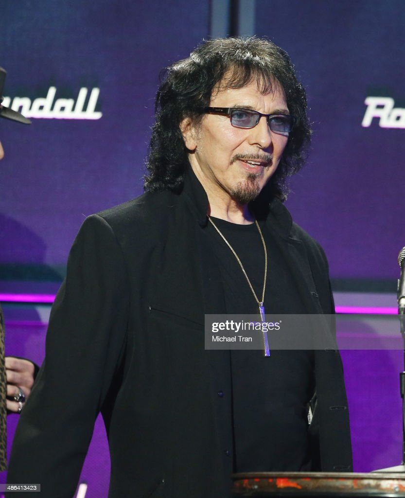 Tony Iommi of Black Sabbath speaks onstage during the 6th Annual Revolver Golden Gods Award Show held at Club Nokia on April 23, 2014 in Los Angeles, California.