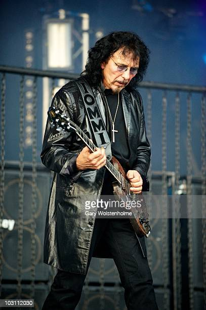 Tony Iommi of Heaven and Hell performs on stage during day one of High Voltage Festival at Victoria Park on July 24 2010 in London England