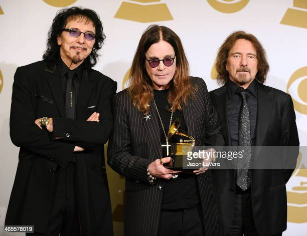 Tony Iommi Ozzy Osbourne and Geezer Butler of Black Sabbath pose in the press room at the 56th GRAMMY Awards at Staples Center on January 26 2014 in...