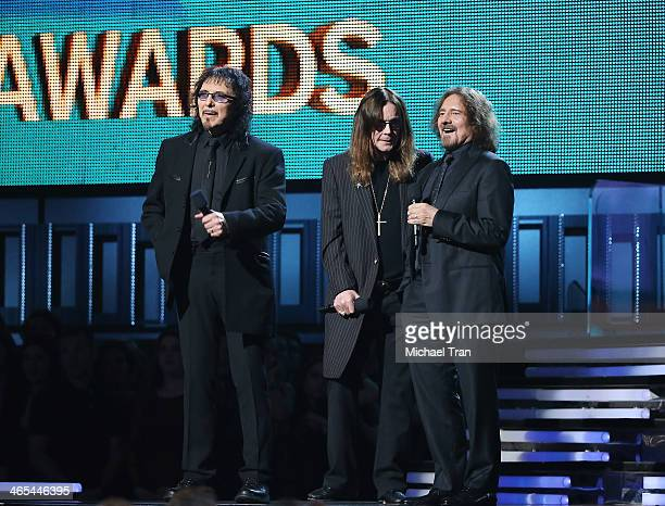 Tony Iommi Ozzy Osbourne and Geezer Butler of Black Sabbath speak onstage during the 56th GRAMMY Awards held at Staples Center on January 26 2014 in...