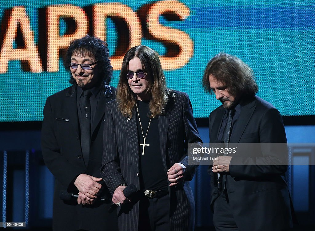 Tony Iommi, Ozzy Osbourne and Geezer Butler of Black Sabbath speak onstage during the 56th GRAMMY Awards held at Staples Center on January 26, 2014 in Los Angeles, California.