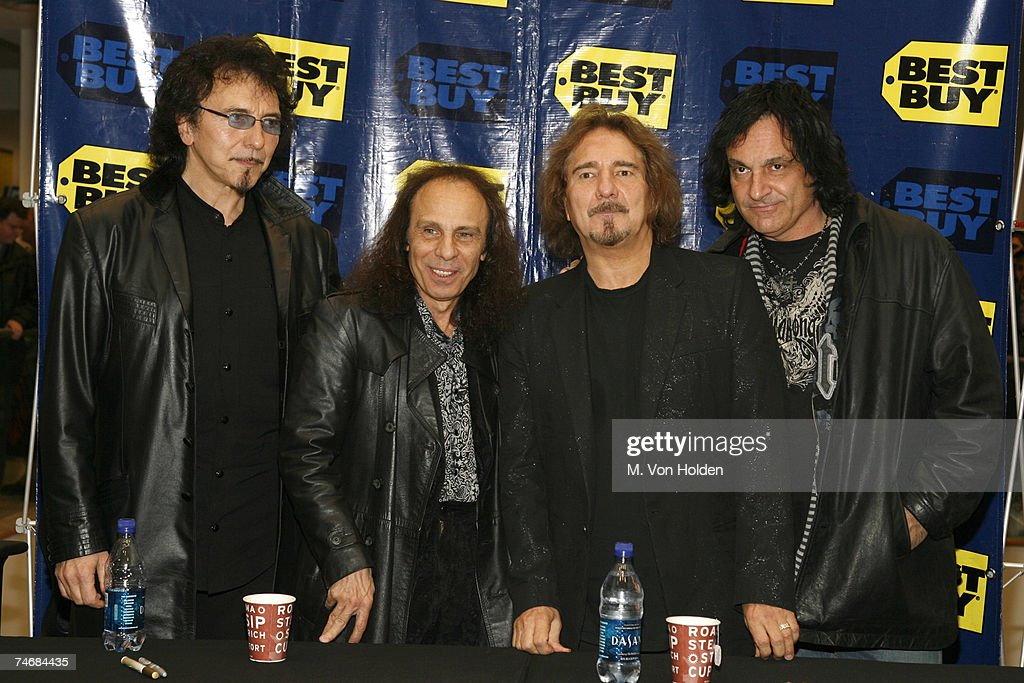 Tony Iommi, Ronnie James Dio, Geezer Butler and Vinny Appice at the Best Buy in New York City, New York