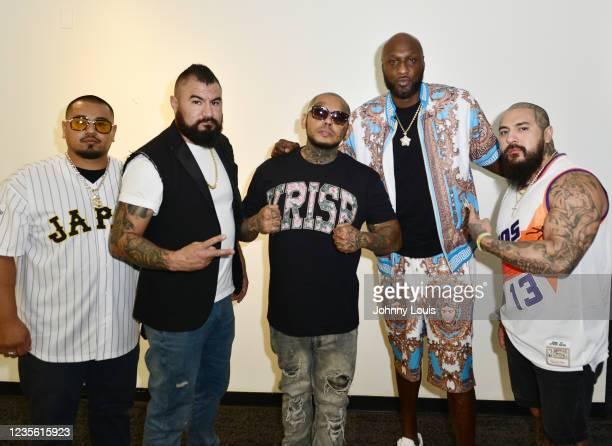 Tony Iraheta, Kenny Alcala, Michael Stikes Gonzalez, Lamar Odom and Fernando Vazquez attend the Celebrity Boxing Press Conference at James L. Knight...