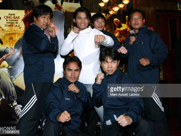 Tony Jaa and stuntmen during 'The Honor of the Dragon' Paris Premiere at Big Rex in Paris France