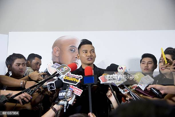 Tony Jaa speaks to reporters at the press conference for the Paramount Pictures title 'xXx Return of Xander Cage' at SO Sofitel Bangkok Hotel on...