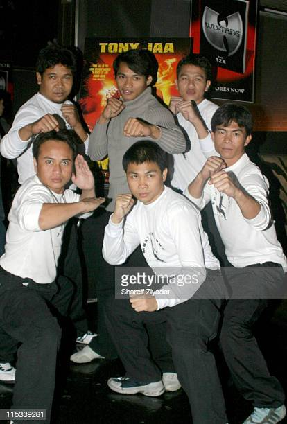 Tony Jaa with Thai Warriors during 'OngBak' New York City Screening After Party at Lot 61 in New York City New York United States
