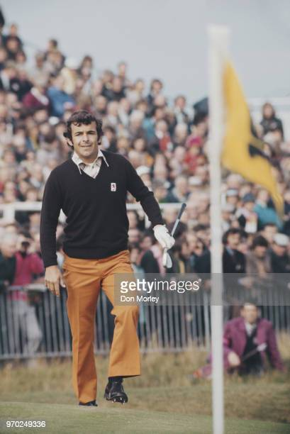 Tony Jacklin of Great Britain and Ireland follows his ball onto the green during the Four ball competition of the 20th Ryder Cup Matches against the...