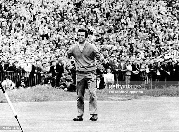 Tony Jacklin of Great Britain on the 18th green after winning the British Open Championship at Royal Lytham St Annes 12th July 1969