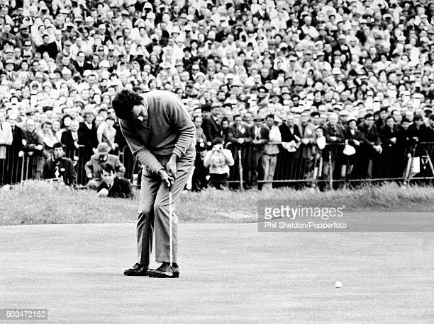 Tony Jacklin of Great Britain putting on the 18th green to win the British Open Championship at Royal Lytham St Annes 12th July 1969