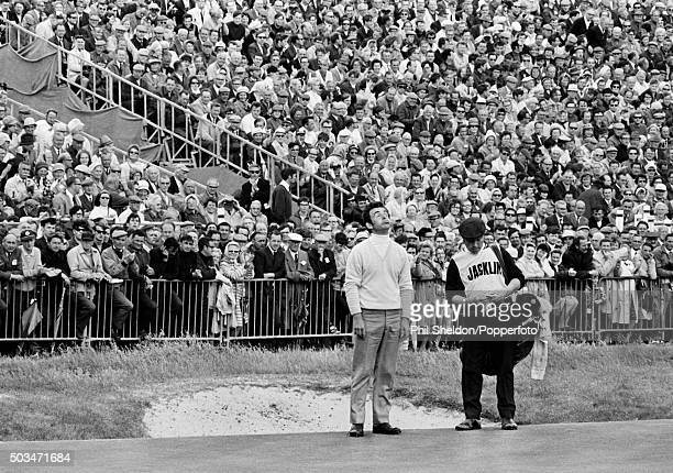 Tony Jacklin of Great Britain reacts during his final round to win the British Open Championship at Royal Lytham St Annes 12th July 1969