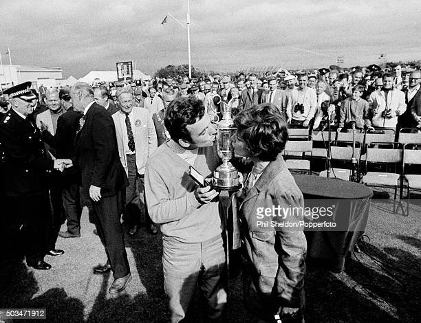 Tony Jacklin of Great Britain with his wife Vivien and the trophy after winning the British Open Golf Championship at Royal Lytham St Annes Golf Club...
