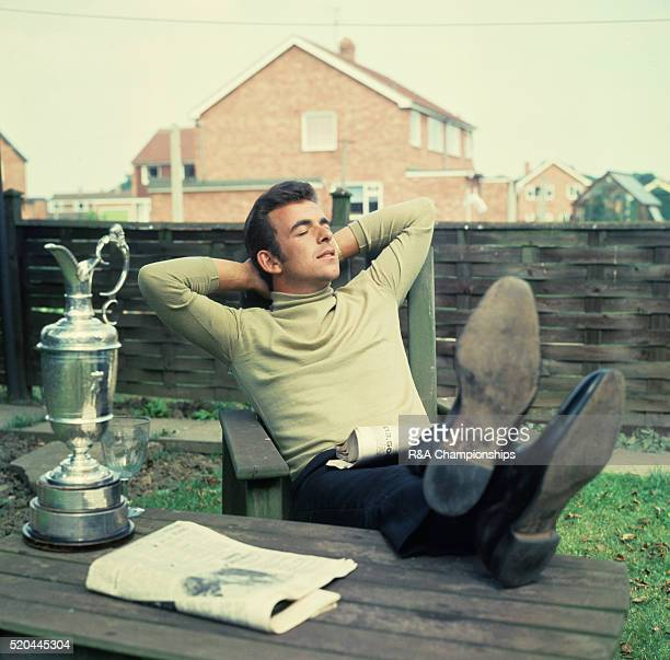 Tony Jacklin with the open golf trophy at his parents home in Battisford, Lincs, the day after he won the Open Championship 1969. 13th July 1969.
