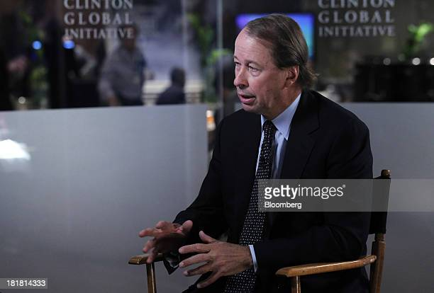 Tony James president and chief operating officer of Blackstone Group LP speaks during a Bloomberg Television interview during the annual meeting of...