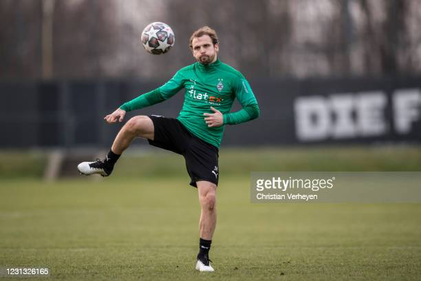 Tony Jantschke in action during a Training session of Borussia Moenchengladbach at Borussia-Park on February 22, 2021 in Moenchengladbach, Germany.