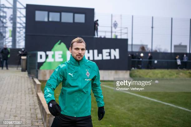 Tony Jantschke is seen during a training session of Borussia Moenchengladbach ahead the Group B - UEFA Champions League match between Borussia...