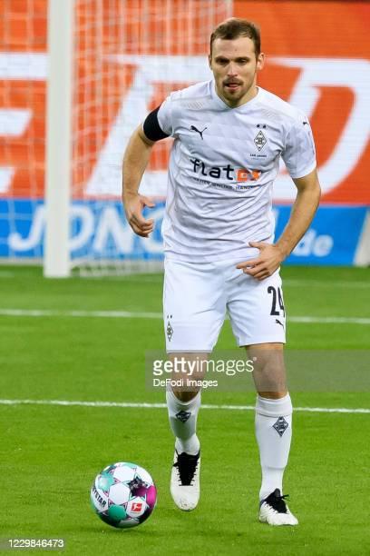 Tony Jantschke of Borussia Moenchengladbach controls the ball during the Bundesliga match between Borussia Moenchengladbach and FC Schalke 04 at...
