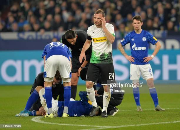Tony Jantschke of Borussia Moenchengladbach gestures during the Bundesliga match between FC Schalke 04 and Borussia Moenchengladbach at VeltinsArena...