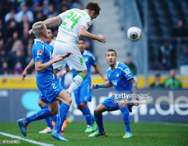 Tony Jantschke of Borussia Moenchengladbach heads his team's second goal during the Bundesliga match between Borussia Moenchengladbach and 1899...