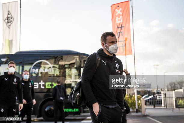 Tony Jantschke of Borussia Moenchengladbach is seen before the Bundesliga match between Borussia Moenchengladbach and SC Freiburg at Borussia-Park on...
