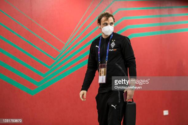 Tony Jantschke of Borussia Moenchengladbach is seen before the UEFA Champions League Round Of 16 Leg Two match between Manchester City and Borussia...