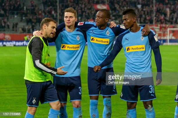 Tony Jantschke of Borussia Moenchengladbach Nico Elvedi of Borussia Moenchengladbach Denis Zakaria of Borussia Moenchengladbach and Breel Embolo of...