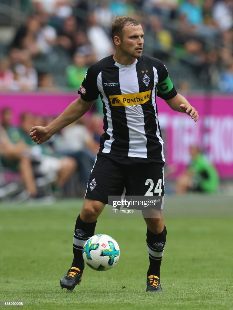 Tony Jantschke of Moenchengladbach controls the ball during the Telekom Cup 2017 3rd place match between Borussia Moenchengladbach and TSG Hoffenheim at Borussia Park on July 15, 2017 in Moenchengladbach, Germany.