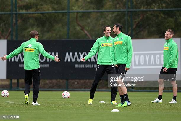 Tony Jantschke Roel Brouwers Filip Daems and Martin Stranzl of Borussia Moenchengladbach during a training session on day five of Borussia...