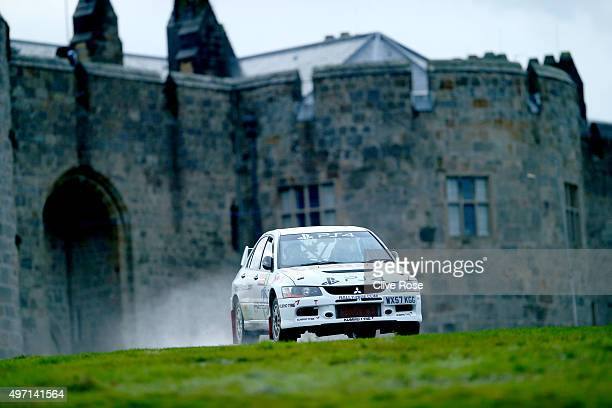 Tony Jardine and Gordon Noble of Great Britain drive the Jardine Mitsubishi Lancer Evolution IX during the Chirk Castle stage of the FIA World Rally...