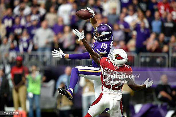 Tony Jefferson of the Arizona Cardinals defends a pass meant for Adam Thielen of the Minnesota Vikings during the second half of the game on November...
