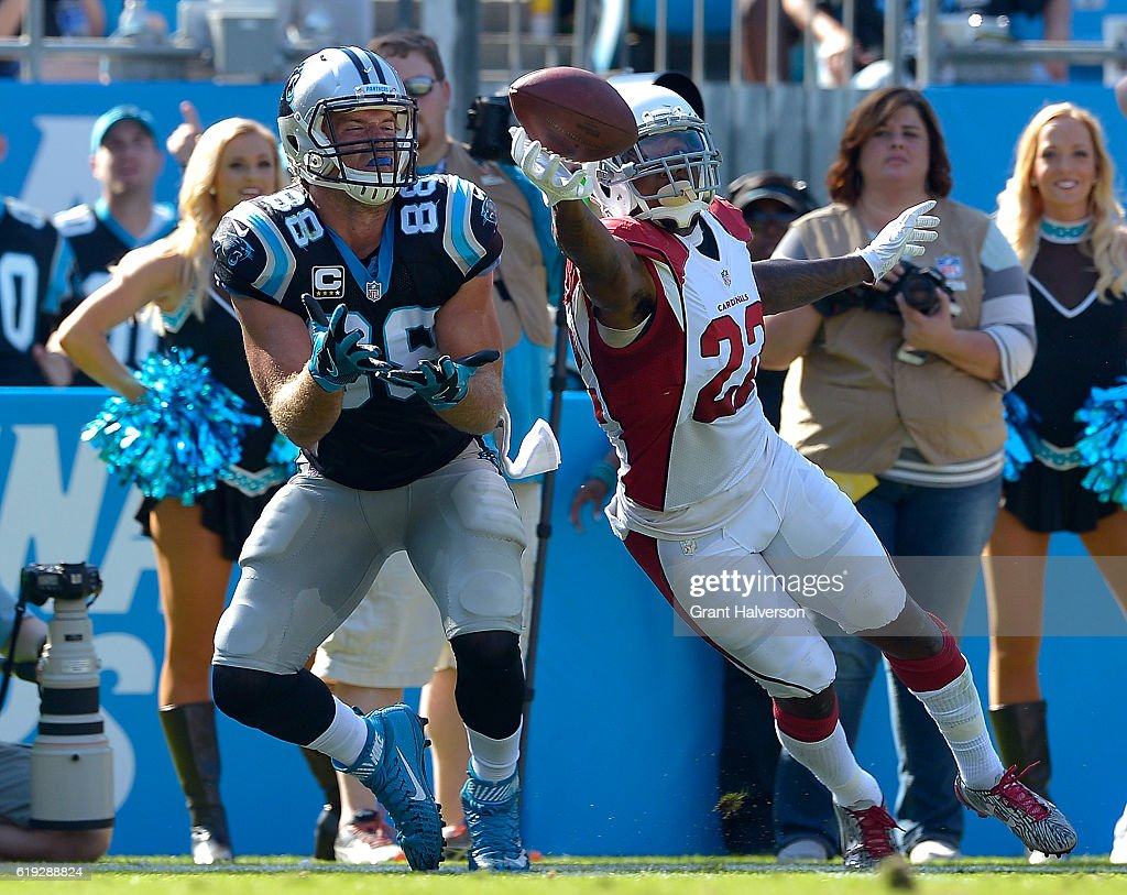 Tony Jefferson #22 of the Arizona Cardinals deflects a pass intended for Greg Olsen #88 of the Carolina Panthers during the game at Bank of America Stadium on October 30, 2016 in Charlotte, North Carolina.