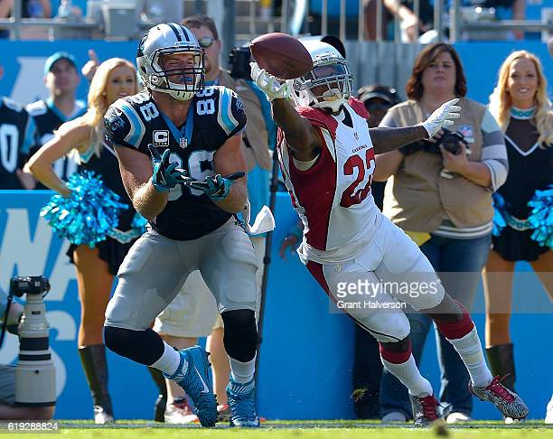 Tony Jefferson of the Arizona Cardinals deflects a pass intended for Greg Olsen of the Carolina Panthers during the game at Bank of America Stadium...