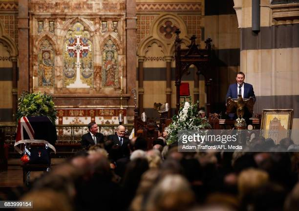 Tony Jones addresses the crowd during the former Collingwood legend Lou Richards state funeral at St Paul's Cathedral on May 17 2017 in Melbourne...