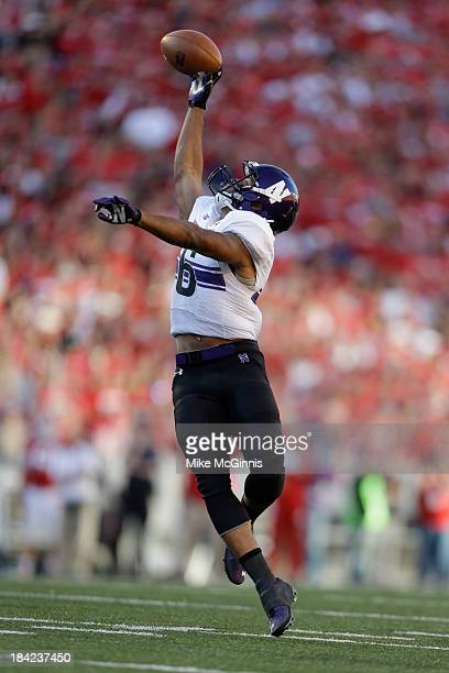 Tony Jones of the Northwestern Wildcats makes the one handed catch during the second half of play against the Wisconsin Badgers at Camp Randall...