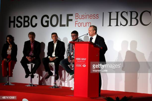 Tony Judge Chief Executive of ClubstoHirecom addresses the HSBC Golf Business Forum at the Westin Abu Dhabi Golf Resort Spa on April 30 2014 in Abu...