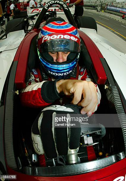Tony Kanaan aboard the Mo Nunn Racing Honda Lola puts on his gloves during practice for the Gran Premio GiganteTelmex round 19 of the CART Fed Ex...