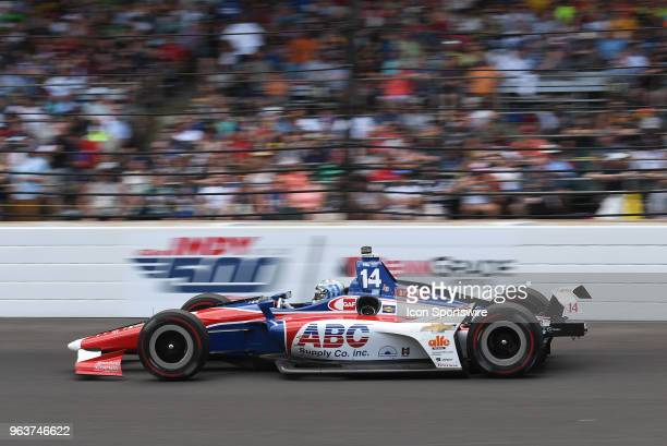 Tony Kanaan driver of the A J Foyt Enterprises Chevrolet works his way down the front stretch during the IndyCar Series Indianapolis 500 on May 27 at...