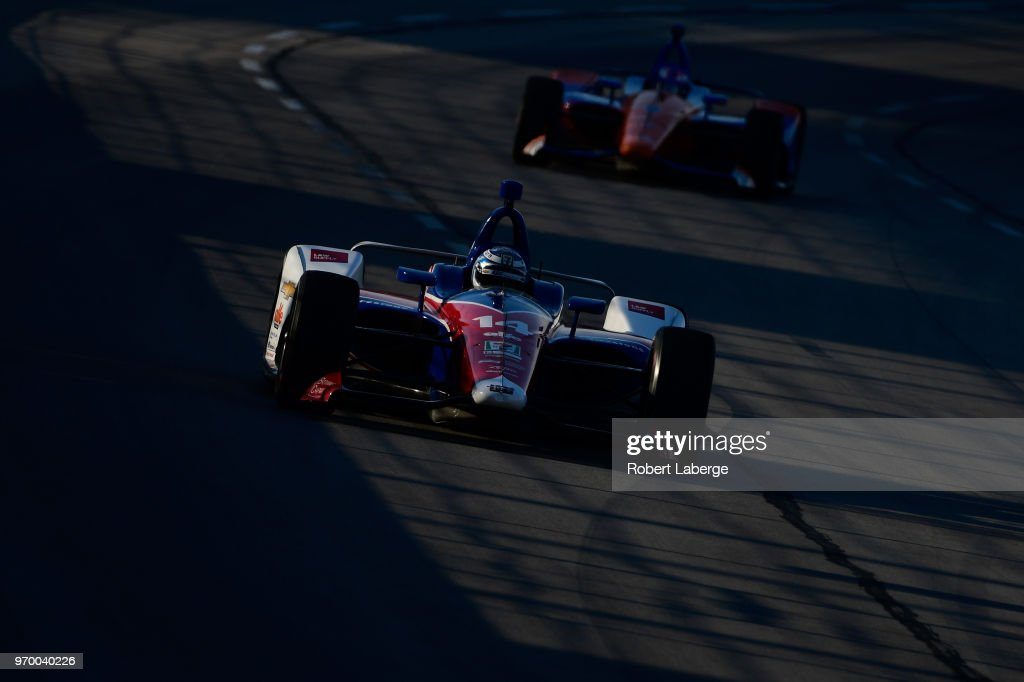 Tony Kanaan, driver of the #14 ABC Supply AJ Foyt Racing Chevrolet, practices for the Verizon IndyCar Series DXC Technology 600 at Texas Motor Speedway on June 8, 2018 in Fort Worth, Texas.
