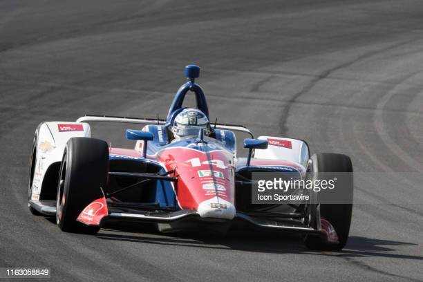 Tony Kanaan driver of the ABC Supply AJ Foyt Racing Chevrolet races into turn 3 during the ABC Supply 500 on August 18 at Pocono Raceway in Long Pond...
