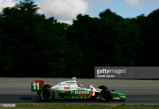 Tony Kanaan drives the Team 7Eleven Andretti Green Racing Dallara Honda during practice for the IRL IndyCar Series The Honda 200 on July 20 2007 at...
