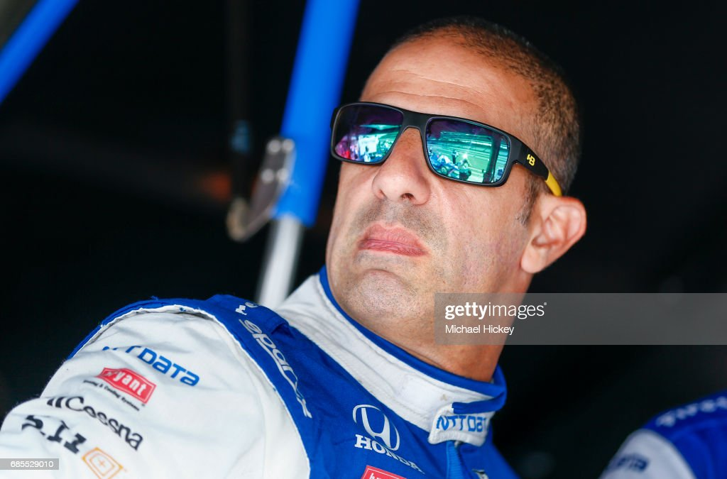 Tony Kanaan is seen during practice for the Indianapolis 500 at Indianapolis Motor Speedway on May 19, 2017 in Indianapolis, In.